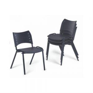 Cadeira Polipropileno Fixa Preta AFF019